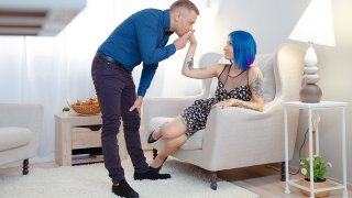 Blue-haired babe enjoys dick on floor - Teen Mega World