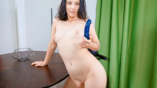 Naked lady plays with a toy - Teen Mega World